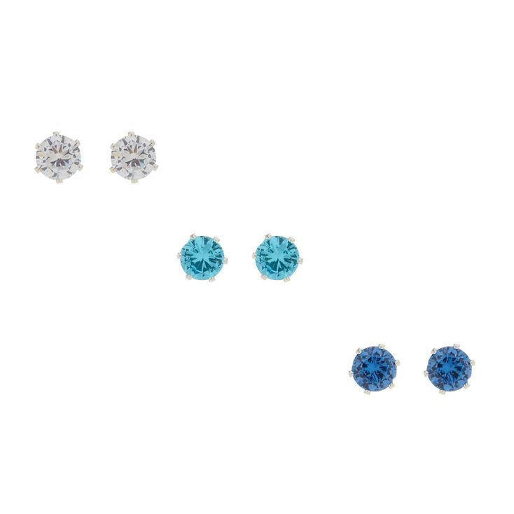 3 Pack Blue Cubic Zirconia Stud Earrings,
