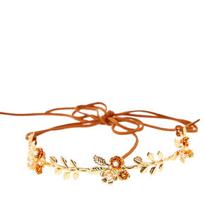 Gold Leaf Tie Headwrap - Burnt Orange,