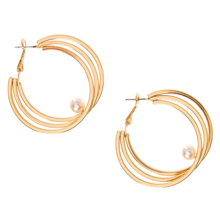 50MM Gold Tone Triple Hoop Earrings with White Faux Pearl Accent,