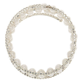 Silver Rhinestone & Pearl Wrap Bracelet,