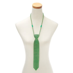 Tie Beaded Necklace - Green,