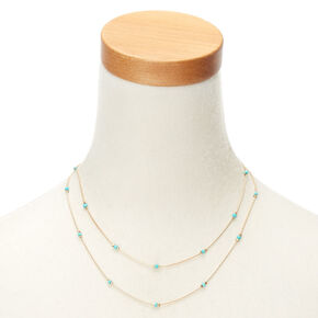 Gold-Tone Turquoise Beaded Multi Strand Necklace,