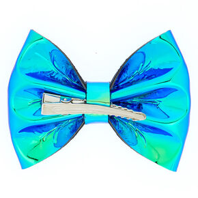 Holographic Mini Hair Bow Clip - Turquoise,