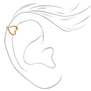Gold Heart Outline Faux Tragus Earring,