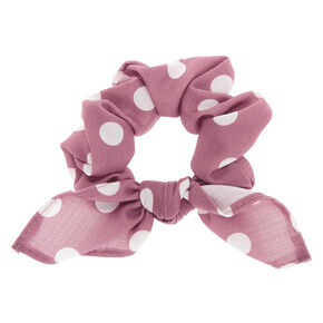 Small Polka Dot Knotted Bow Hair Scrunchie - Mauve,