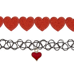 Hearts Choker Necklaces - 2 Pack,