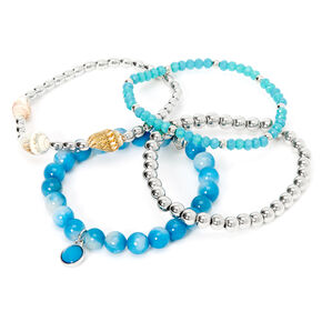 Silver Conch Shell Beaded Stretch Bracelets - Blue, 4 Pack,