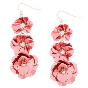 "2"" Sequin Flower Drop Earrings - Pink,"