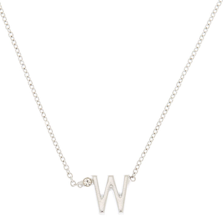 Silver Initial Necklace - W,