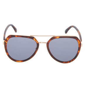 Tortoiseshell Outlined Aviator Sunglasses - Brown,