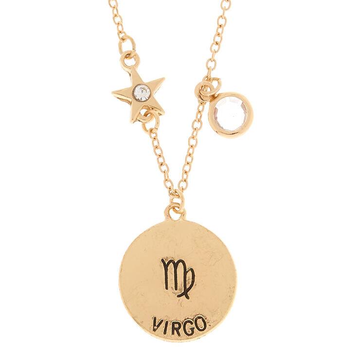 Gold Zodiac Pendant Necklace - Virgo,
