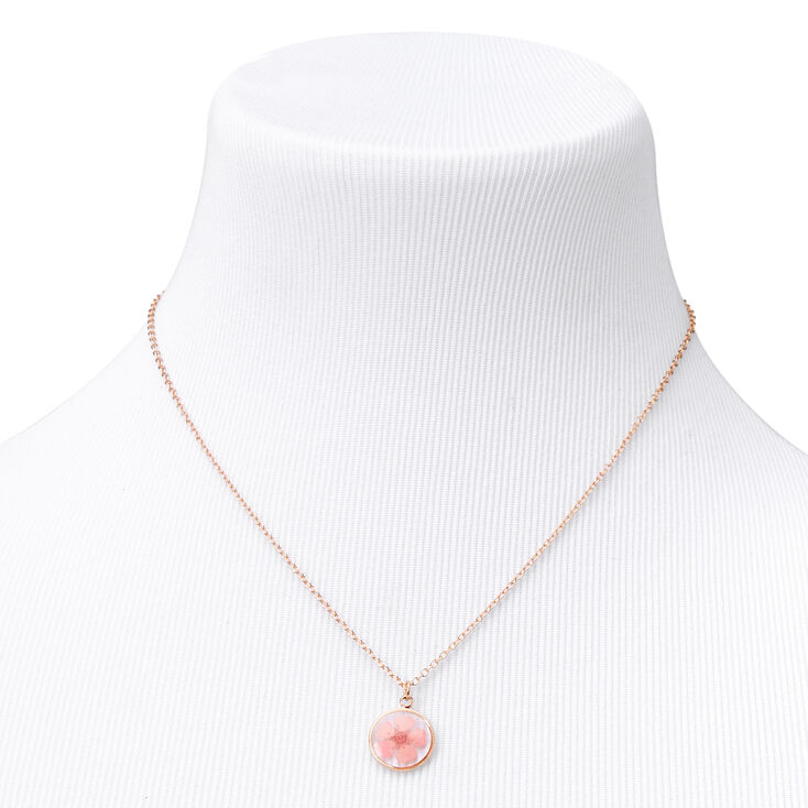 Gold Framed Flower Pendant Necklace - Pink,