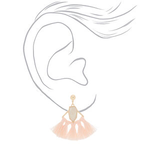 """2"""" Tassel Fan Drop Earrings - Blush,"""