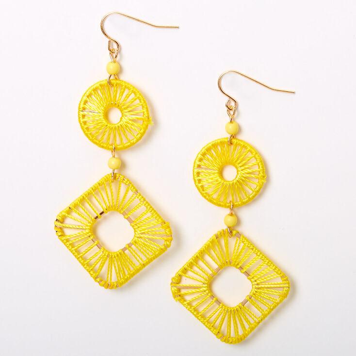 "Gold 2.5"" Threaded Geometric Drop Earrings - Yellow,"