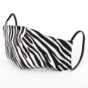 Cotton Black & White Zebra Face Mask - Adult,