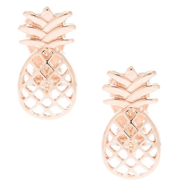 Rose Gold Pineapple Clip On Stud Earrings,