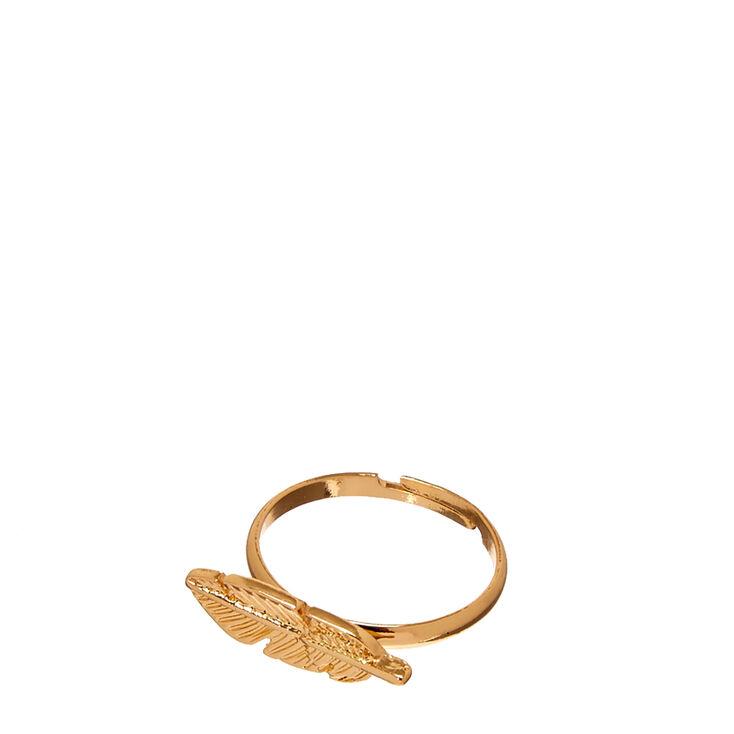 Gold-Tone Leaf Ring,