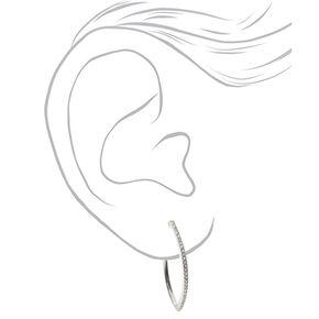 Silver 40MM Embellished Almond Hoop Earrings,