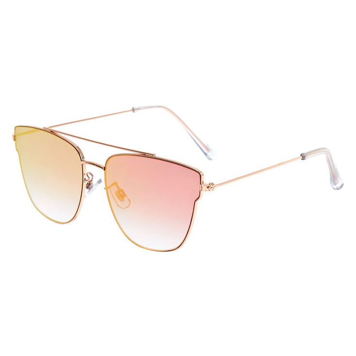 Rose Gold-Tone Pink Mirrored Aviator Sunglasses,
