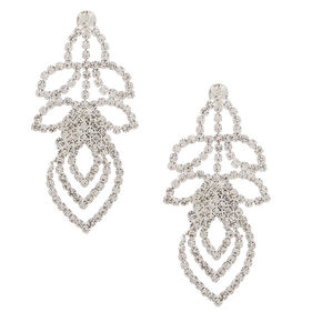 "Silver Rhinestone 1"" Layered Leaf Drop Earrings,"