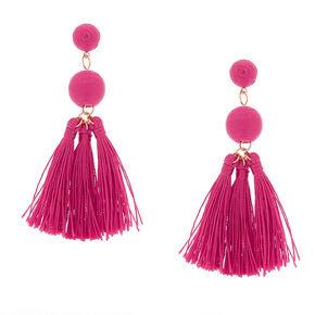 """3"""" Wrapped Tassel Drop Earrings - Hot Pink,"""