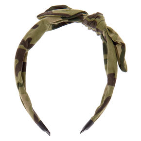 Camo Bow Headband - Green,