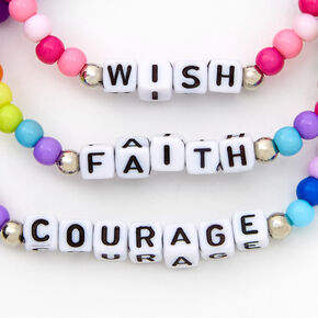 Wish, Faith & Courage Beaded Stretch Bracelets - 3 Pack,