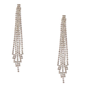 "3.5"" Rhinestone Skyscraper Drop Earrings,"