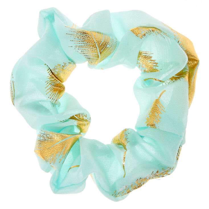 Medium Gold Leaf Hair Scrunchie - Mint,