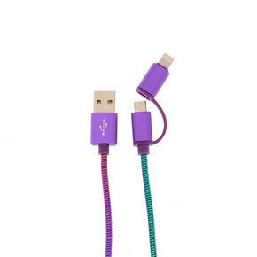 Oil Slick Metal Coil 2-in-1 USB Cord,