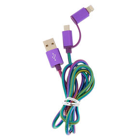 Oil Slick Metal Coil 2-in-1 USB Cord,