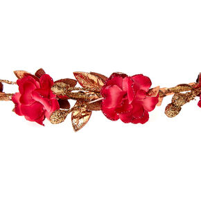 Rose Gold Glitter Flower Crown Headwrap - Fuchsia,