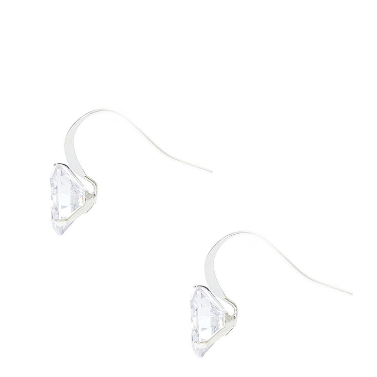 10MM Round Cubic Zirconia Silver Tone Drop Earrings,