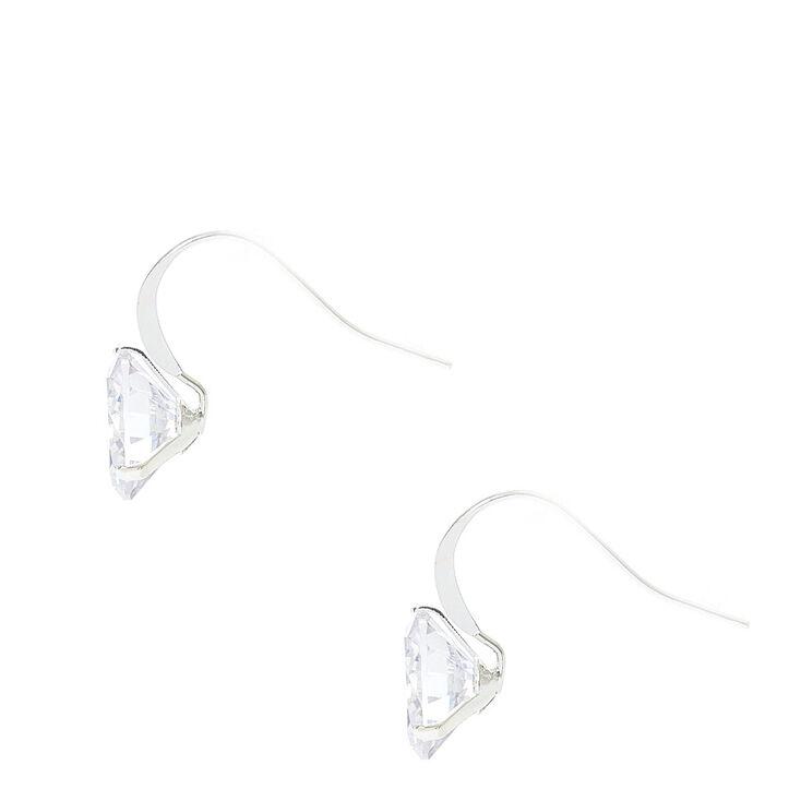 10MM Round Cubic Zirconia Silver Tone Drop Earrings,