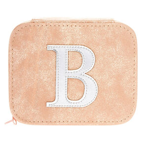 "Blush Pink ""B"" Initial Jewelry Case,"