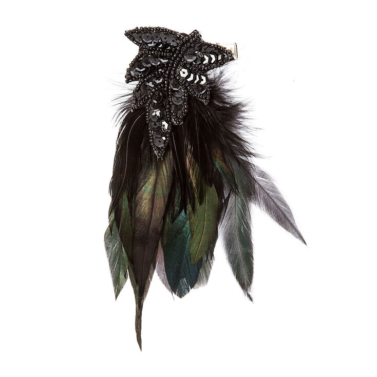 Black Sequin & Green Feathers Vintage Hair Clip,