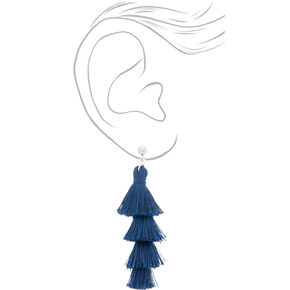 "2.5"" Tiered Tassel Drop Earrings - Navy,"