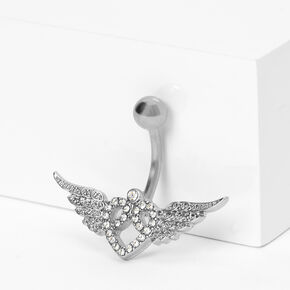 Silver 14G Heart Wings Belly Ring,