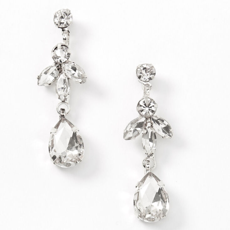 Silver Rhinestone Flower Cluster Jewelry Set - 2 Pack,