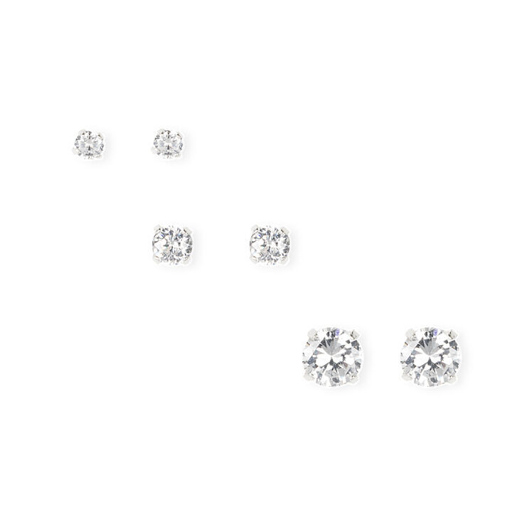 Silver Cubic Zirconia Round Martini Set Stud Earrings  - 3MM, 4MM, 6MM,