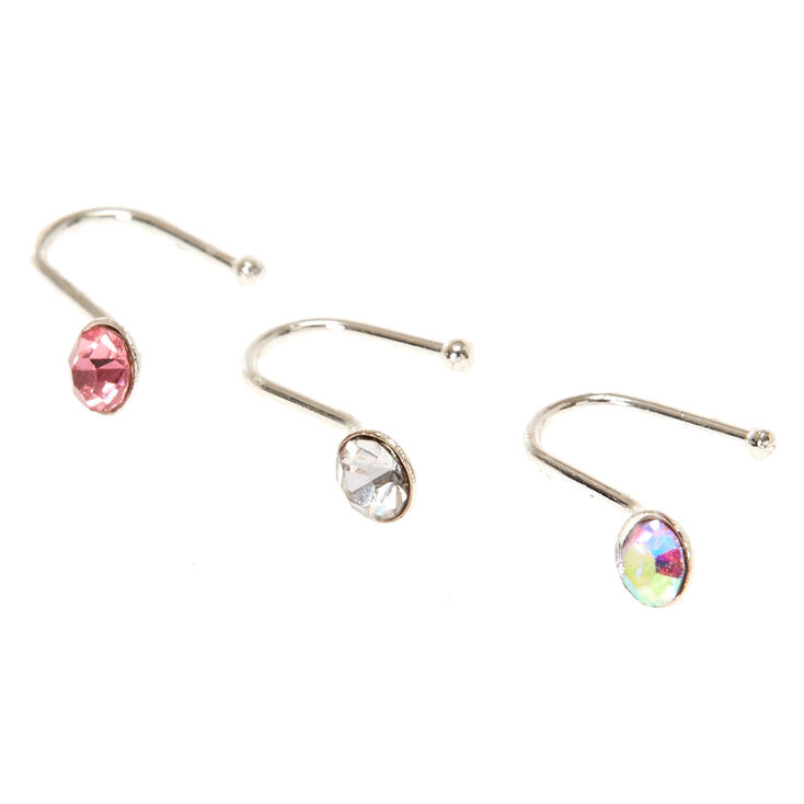 Pink Crystal Faux Nose Studs,