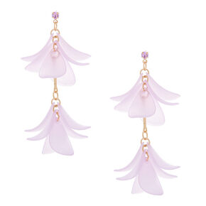 "Gold 2"" Flower Petal Drop Earrings - Purple,"