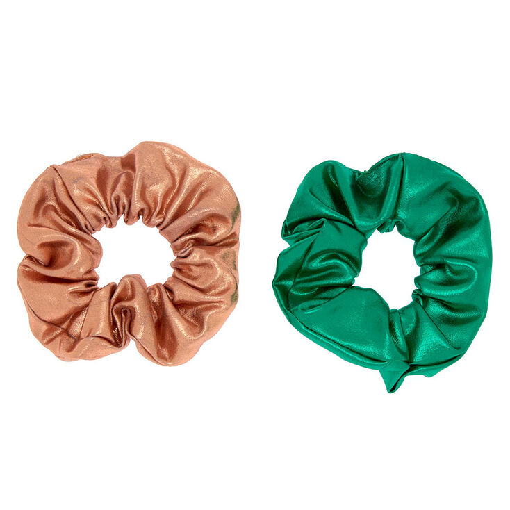 Metallic Hair Scrunchies - 2 Pack,
