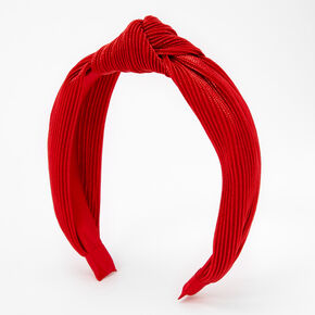 Ribbed Shimmer Twisted Headband - Red,