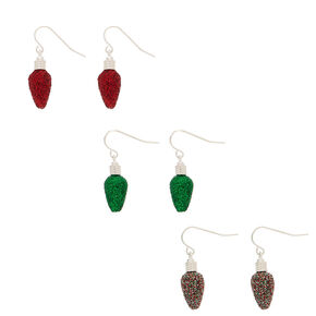 Glitter Christmas Lights Drop Earrings - 3 Pack,