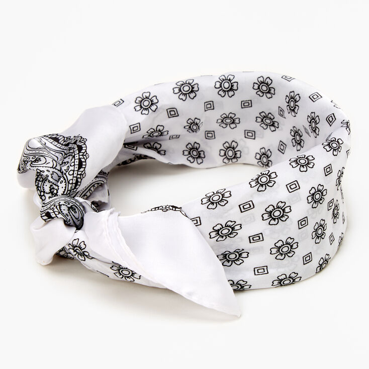 Floral Paisley Silky Bandana Headwrap - White,