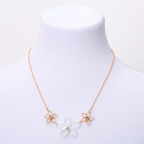 Gold Wired Flower Statement Necklace - White,