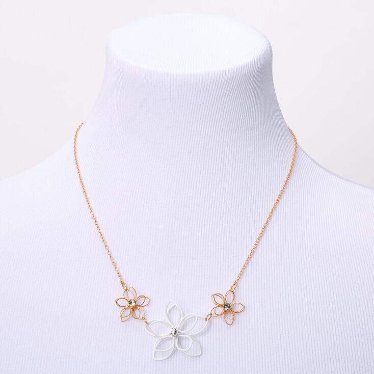 Gold Wired Flower Statement Necklace - White,