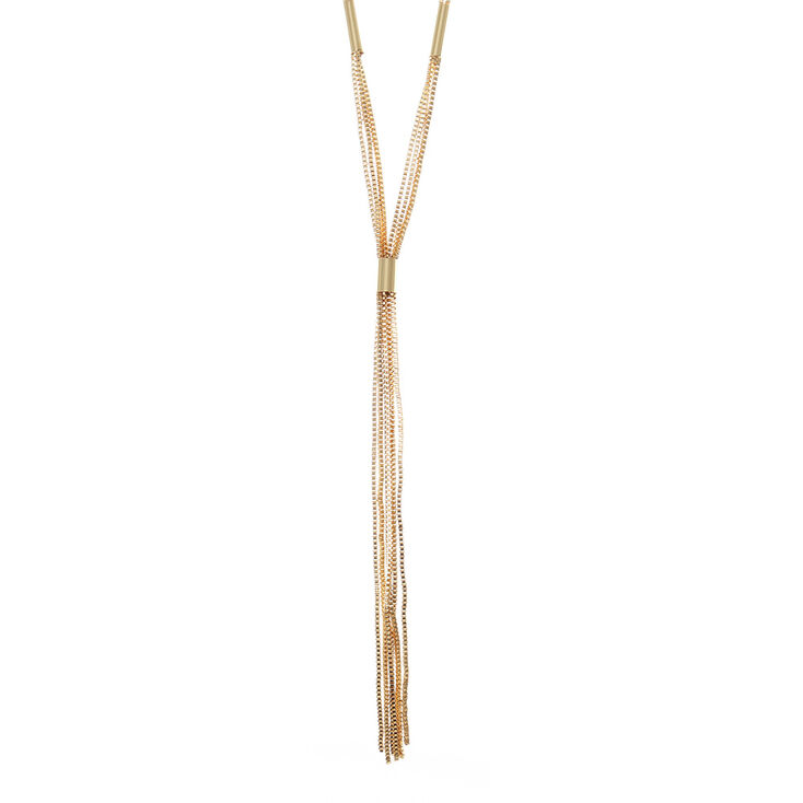 Long Gold Multi Strand Cord Necklace,