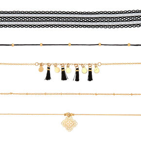 Assorted Choker Necklaces - Black, 5 Pack,
